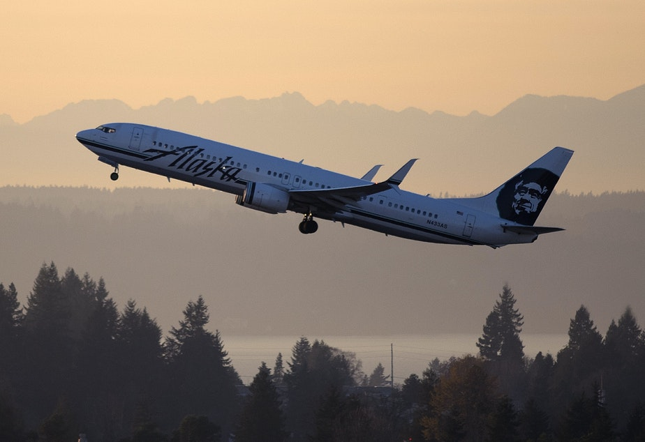An Alaska Airlines jet takes off from Sea-Tac International Airport