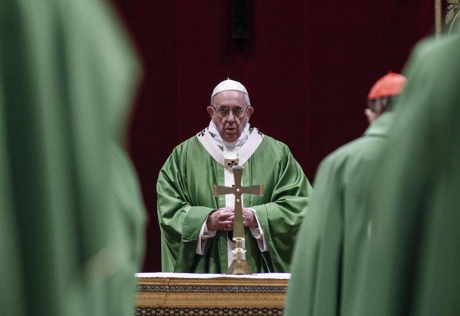caption: Pope Francis celebrates Mass at the Vatican, Sunday, Feb. 24, 2019.