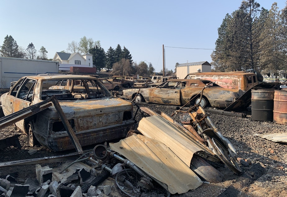 caption: Most of the buildings and homes in Malden, Wash. were destroyed in the Labor Day wildfire.