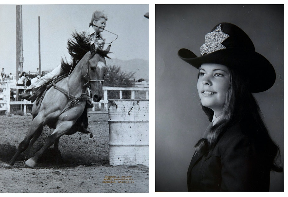 caption: Left: A photograph shows Julie Hensley competing at the Okanogan County Fair in 1976. Right: A photograph of Julie Hensley from 1974 when she was crowned Washington state high school rodeo queen.