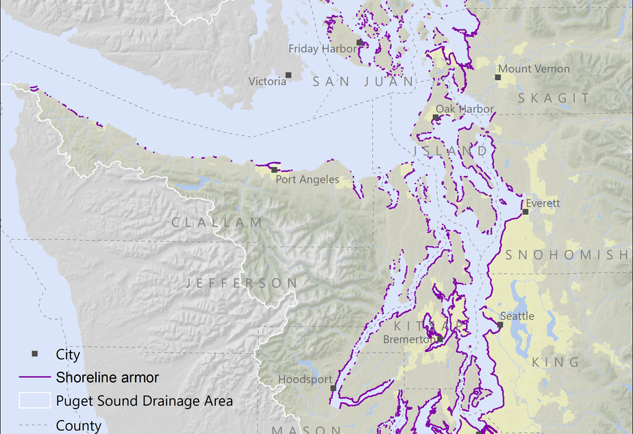 caption: 29 percent of Puget Sound's shores have been armored--walled off from the tides.