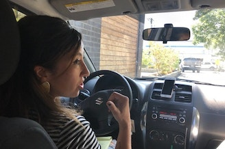 Lisa Etter-Carlson grabs a coffee before heading out to search for a young, pregnant, homeless woman who needs medical care.