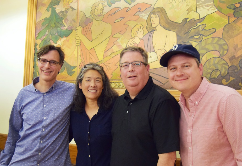 caption: Bill Radke, Deb Wang, Chris Vance and Luke Burbank  at the Leif Erikson Lodge as part of the 'Week in Review' summer tour.