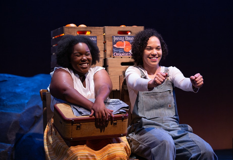 "caption: Actors Allyson Lee Brown and Ayo Tushinde in Intiman Theatre's 2019 production of ""Bulrusher."""