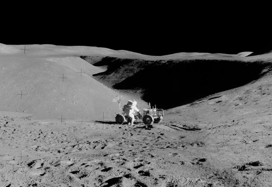 caption: A panorama of the lunar landscape taken by astronaut James Irwin.
