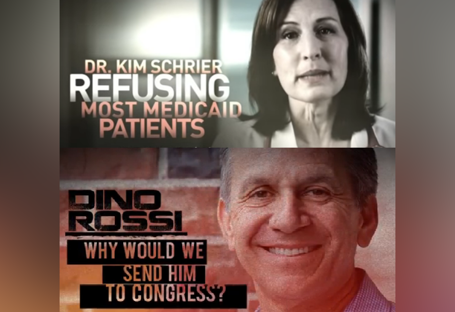 caption: Attack ads against Kim Schrier and Dino Rossi.