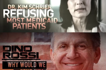 Attack ads against Kim Schrier and Dino Rossi.