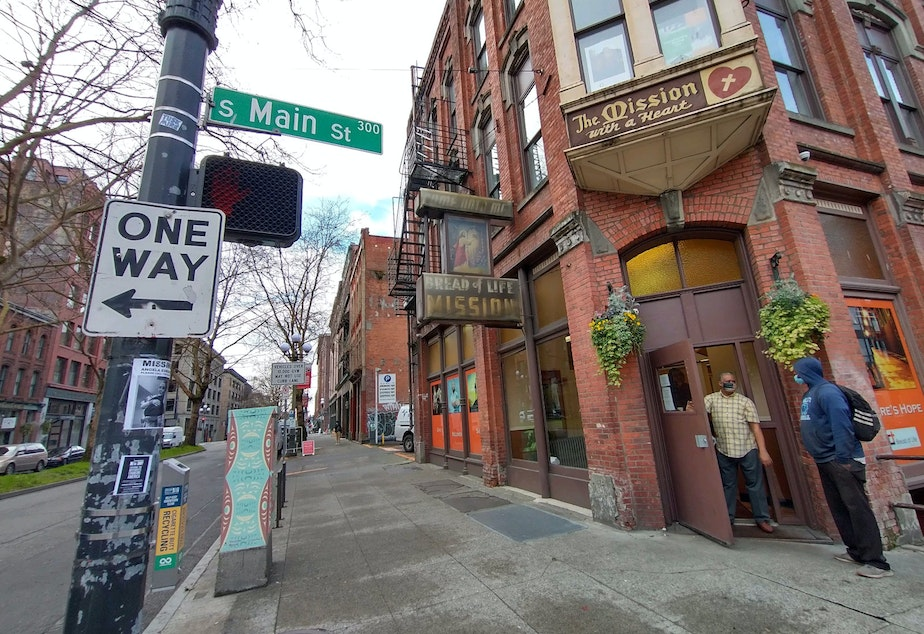 caption: The Bread of Life Mission at the corner of First and Main in Seattle