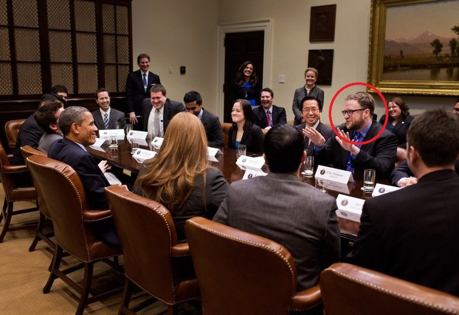 Clay Johnson, accused of sexual assault, at a meeting with President Barack Obama.