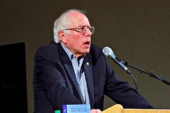 Sen. Bernie Sanders speaks at University Methodist Church in Seattle on Wednesday night.