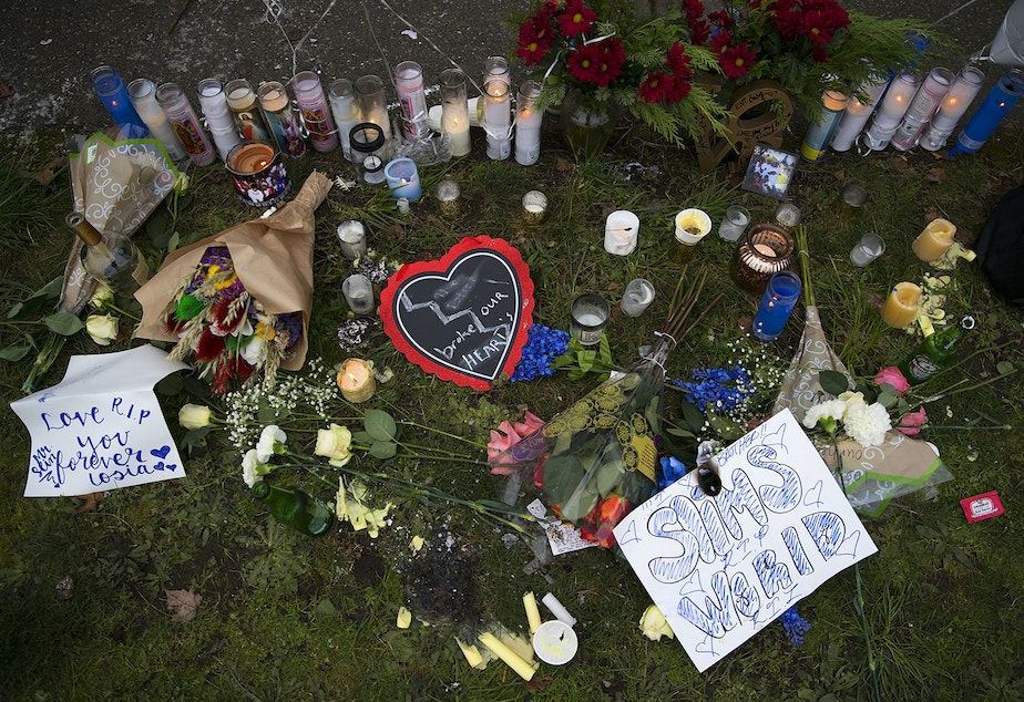 caption: A memorial for Iosia Faletogo is shown on Wednesday, January 2, 2019, at the intersection of North 96th Street and Aurora Avenue North in Seattle. Faletogo was shot and killed by Seattle police on New Year's Eve.
