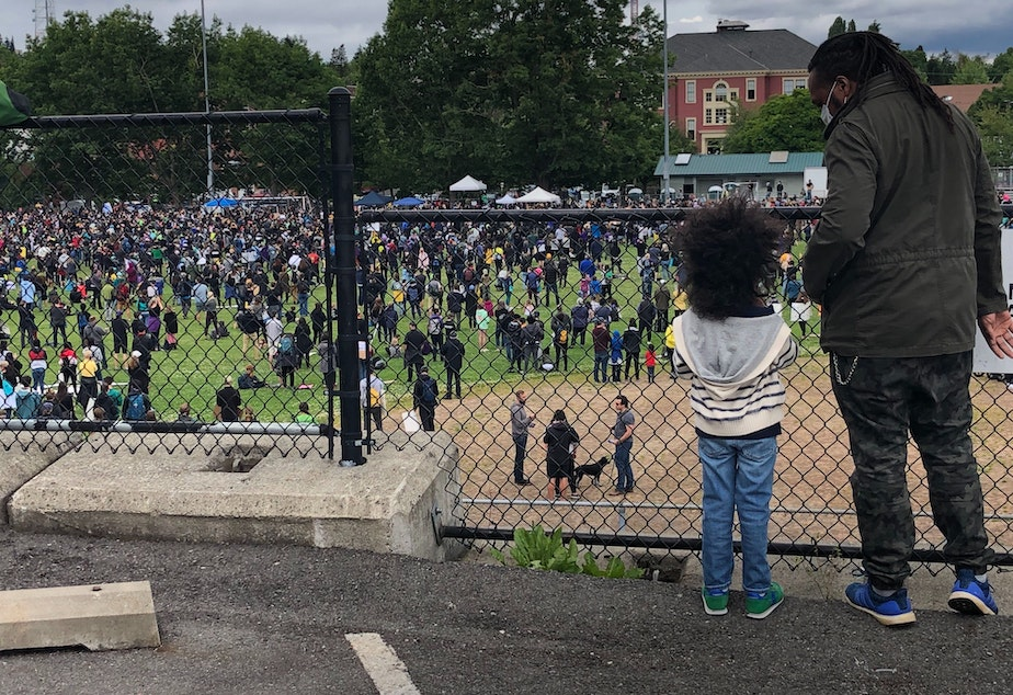 caption: Thousands gather at Garfield High School to begin peaceful march in honor of George Floyd and the Black Lives Matter movement.