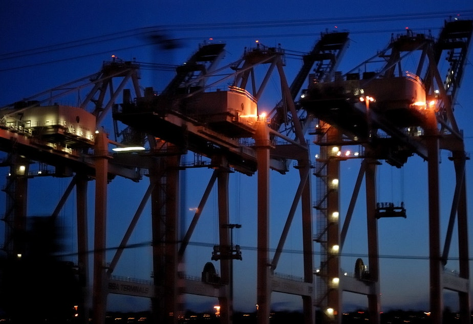 5c459f9d6f7 Port of Seattle cranes loom overhead. After a port slowdown last year,  retailers and