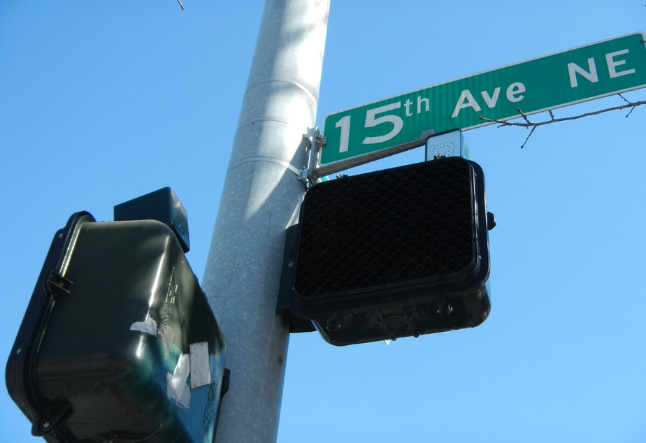caption: The small speakers at certain intersections in Seattle emit a tone to signal when it is safe to cross for the blind or visually impaired.