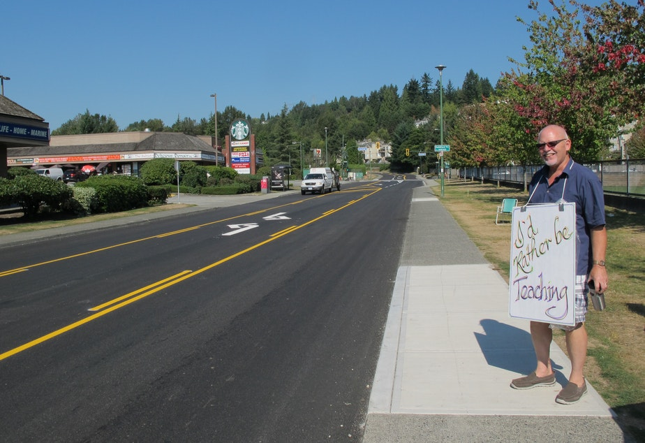 A teacher pickets during the British Columbia teachers' strike.