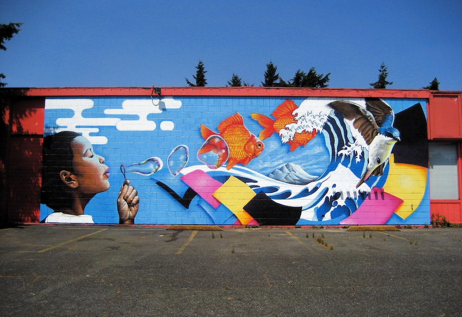 caption: A mural at the Pratt Fine Arts Center in the Central District of Seattle.