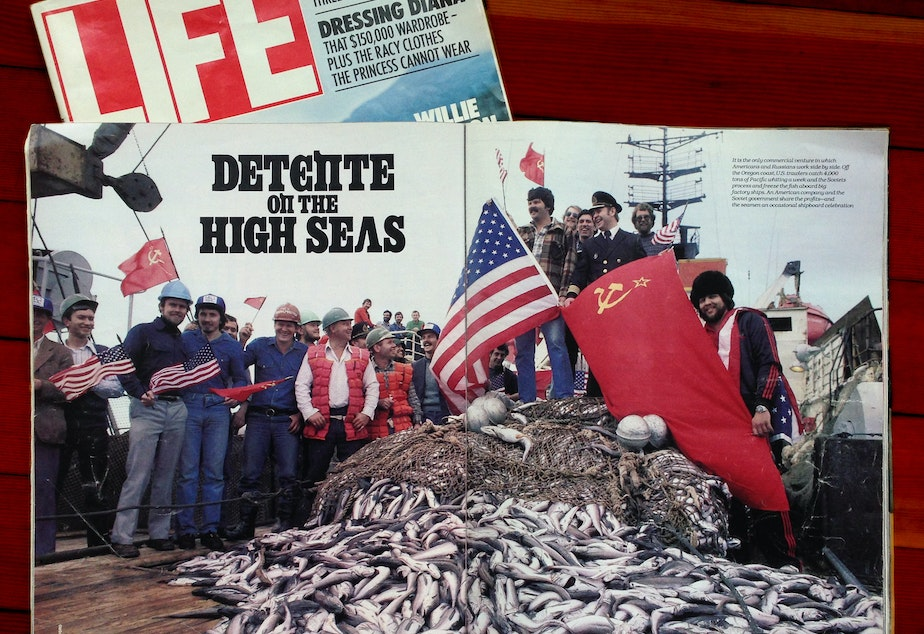 caption: A copy of Life Magazine details the joint fishing venture between the US-Societ Union during the Cold War.