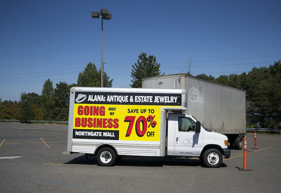 A truck advertising 70% off for items at Alana Jewelry is parked on Monday, July 22, 2019, at Northgate Mall in Seattle.