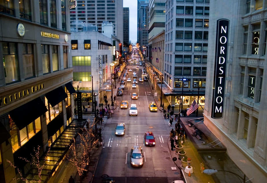 caption: The downtown Seattle Nordstrom store.