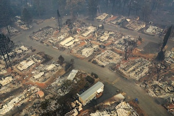 An aerial view of a neighborhood destroyed by the Camp Fire in Paradise, Calif. Fueled by high winds and low humidity, the wildfire ripped through the town, charring more than 140,000 acres and killing more than 60 people.