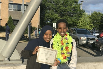 Hamda Hassan poses with her little brother at his 8th grade graduation. Hamda wants to be a role model for her brother.