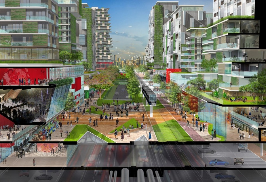 caption: Artist's rendering of Forest City, Malaysia by Sasaki Design