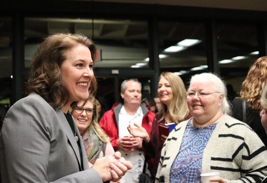 caption: <p>Carolyn Long greets supporters on Election Night in Vancouver, Washington, Tuesday, Nov. 6, 2018.</p>