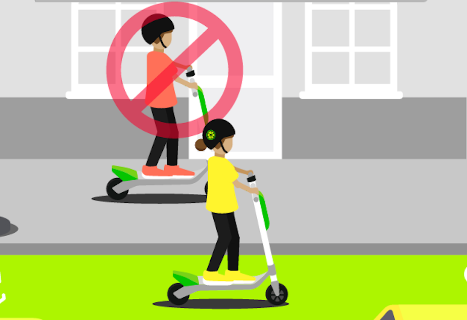 A screenshot from the Lime app. On startup it tells you not to ride the scooters on sidewalks.
