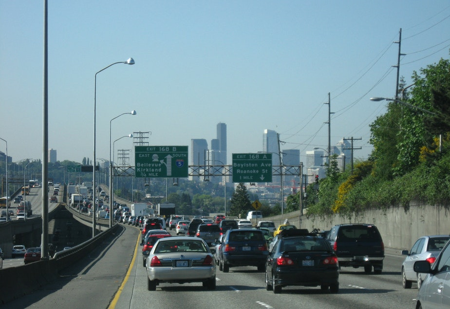 caption: File photo of traffic on Seattle's Ship Canal Bridge.