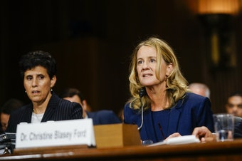 Christine Blasey Ford testifies at a Senate Judiciary Committee hearing on Thursday, Sept. 27, 2018 on Capitol Hill.