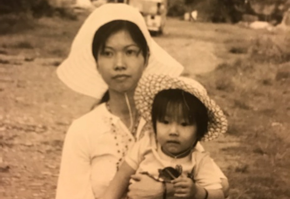 caption: Diem Pham and her mother, Mary Pham, in Vietnam in 1974.