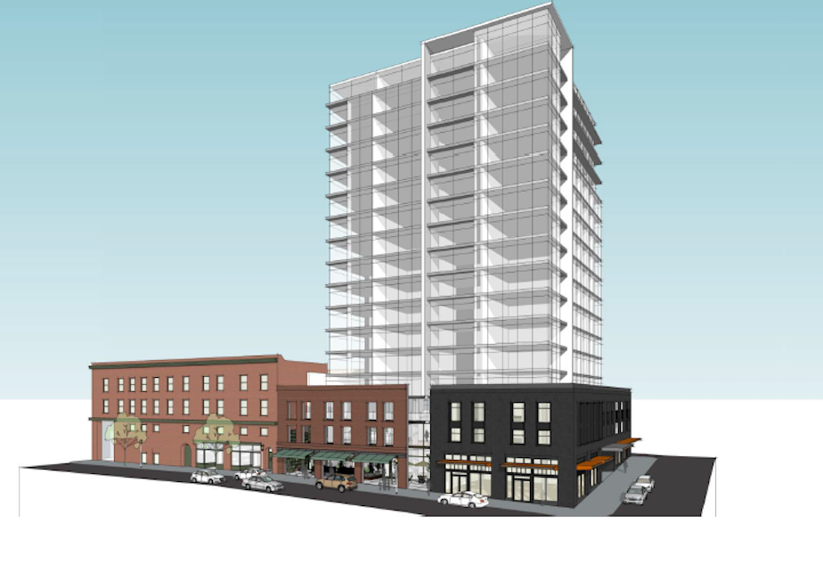 caption: An early rendering of the Jasmine, a residential tower with retail below. The tower would replace much of the earthquake damaged building that now houses Bush Garden. It would retain the old building's facade and dramatically increase the number of small retail spaces on that corner. The project still has to go through several stages of approval.
