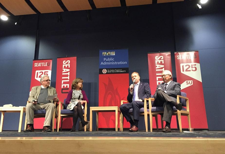 caption: Larry Hubbel, Joni Balter, Seattle Mayor Ed Murray and San Francisco Mayor Ed Lee at Seattle University