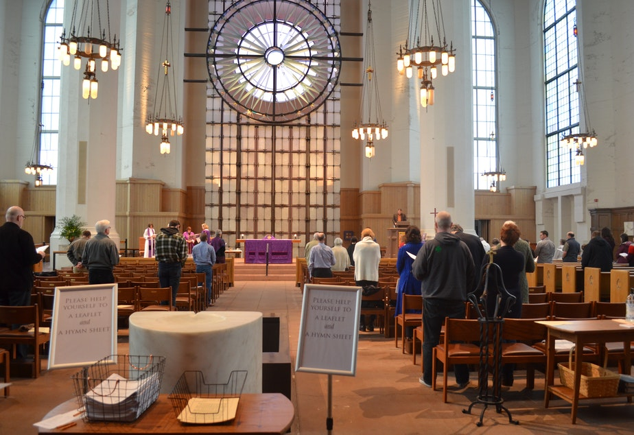 caption: About a third of the usual crowd is at the 7:30 a.m. service at St. Mark's Cathedral on Seattle's Capitol Hill on Sunday, March 8.