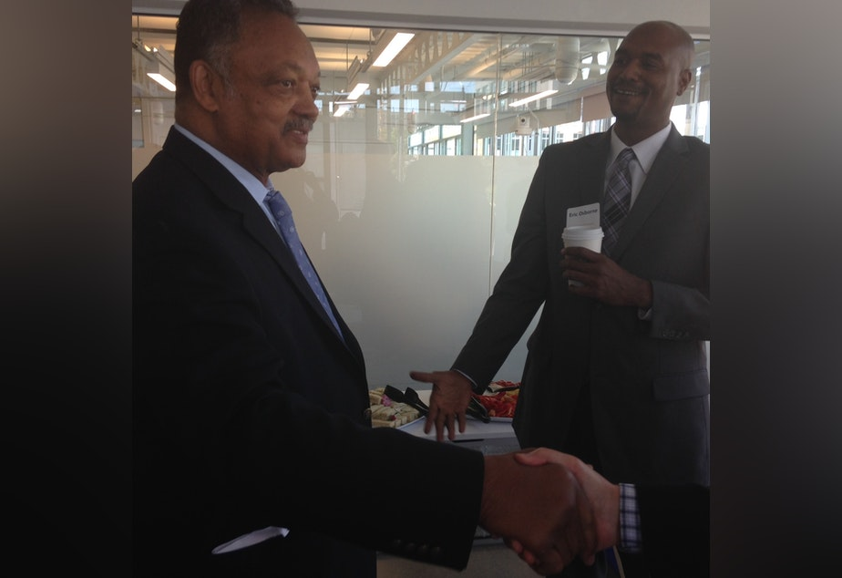 caption: Jesse Jackson visited Seattle on Wednesday, asking that the tech industry focus on hiring more people of color and women.