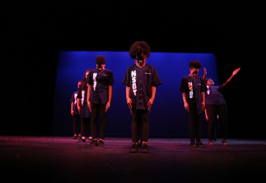 caption: Northside Step Team performs at Seattle Theatre Group's Global Dance Party at the Moore Theater.