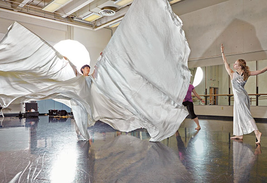 caption: A dancer and stager rehearse Loïe Fuller's 'Lily of the Nile.'