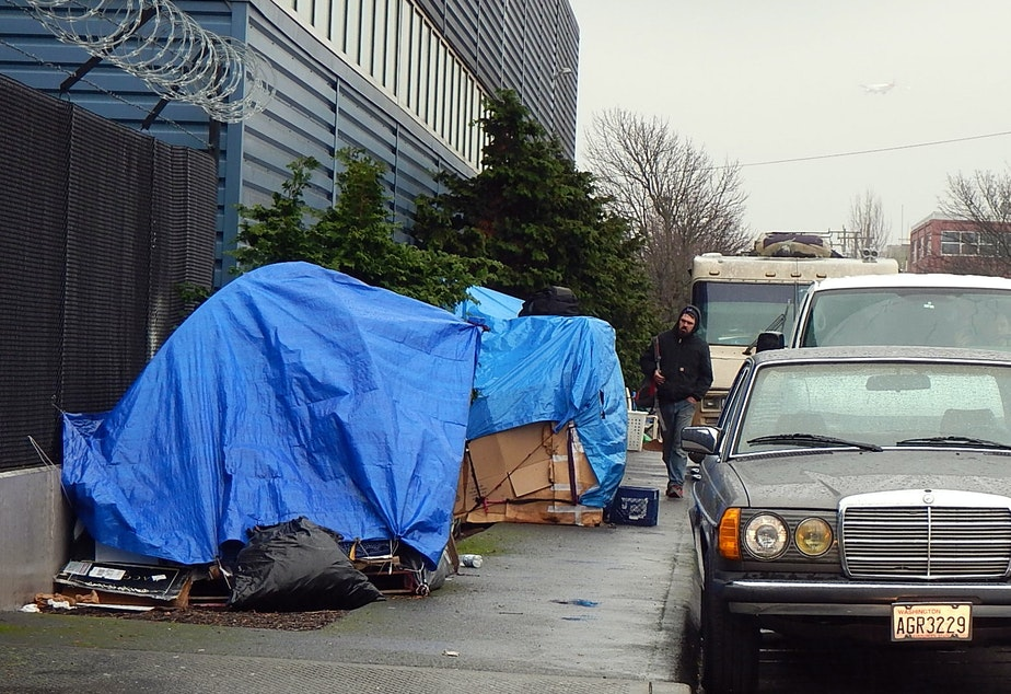 caption: Homeless encampment along a road in the Sodo area of Seattle.