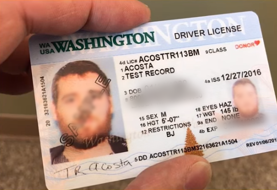 A sample drivers license from a Washington state YouTube video.
