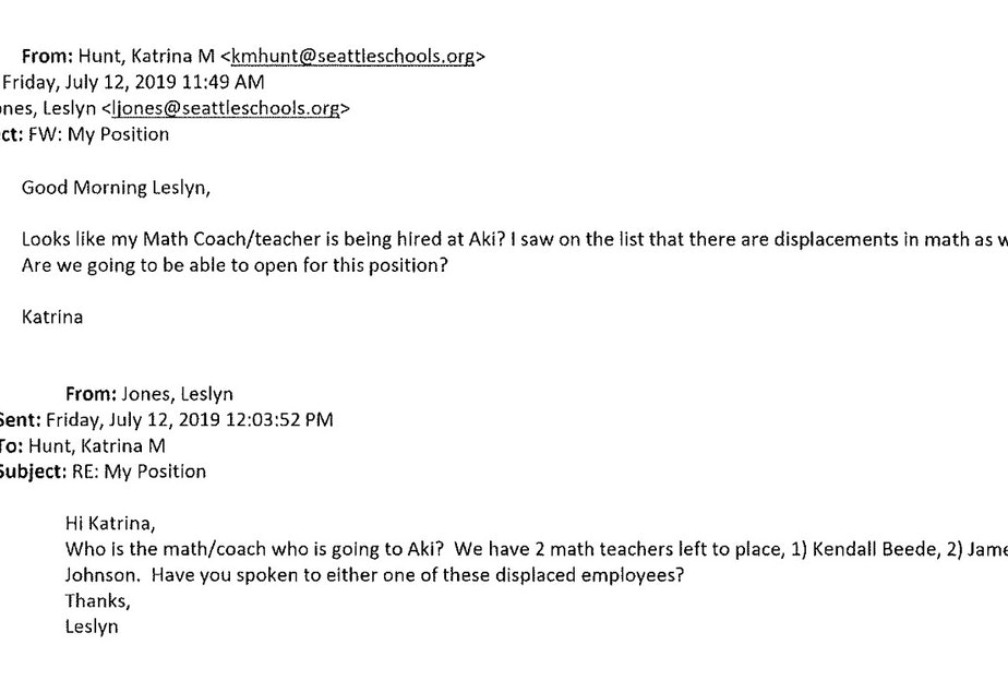 Read through this email slideshow of Principal Katrina Hunt's email correspondence about teacher James Johnson. According to the school district, Hunt knew that Johnson had punched a student in the jaw at the school where he worked previously.