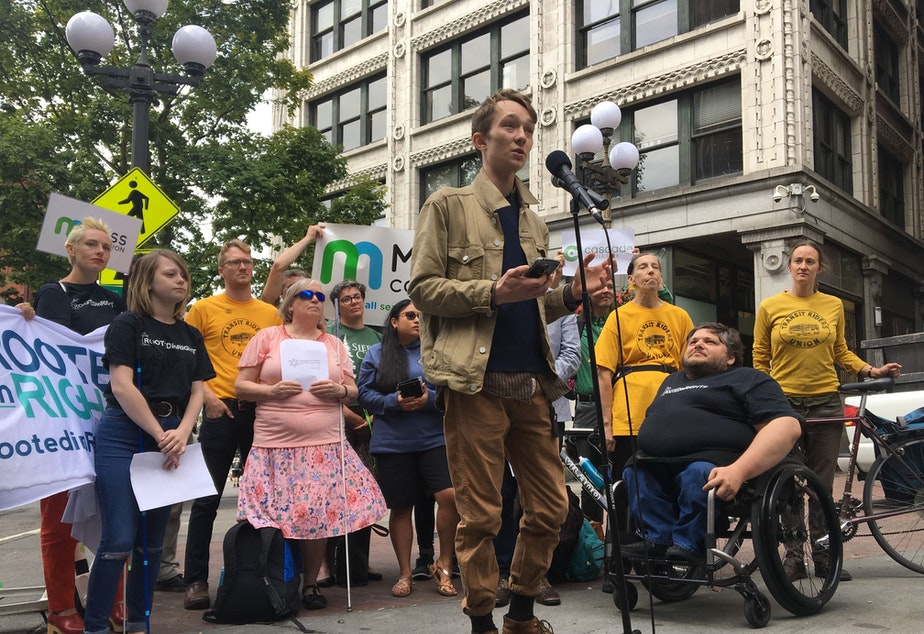 At a press conference in Pioneer Square on Friday, Sam Lockhart of Seattle said he's witnessed two fatal accidents involving bicyclists and been in three bicycle accidents himself.