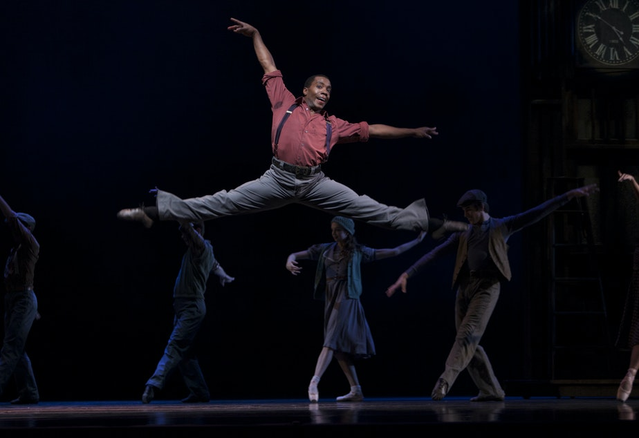 "PNB soloist Kiyon Gaines in Twyla Tharp's ""Waiting at the Station."""