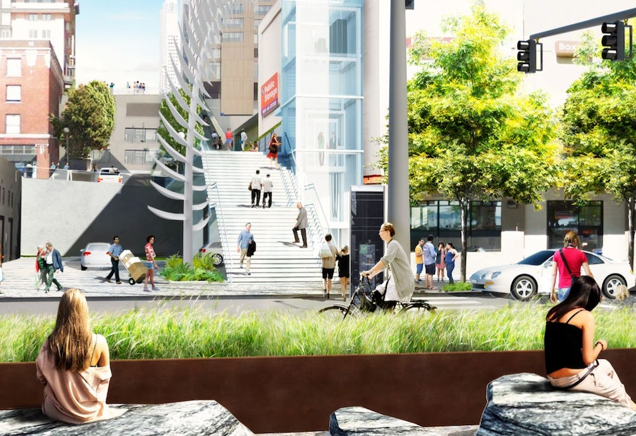 A rendering of the proposed design for Union Street at Alaskan Way.