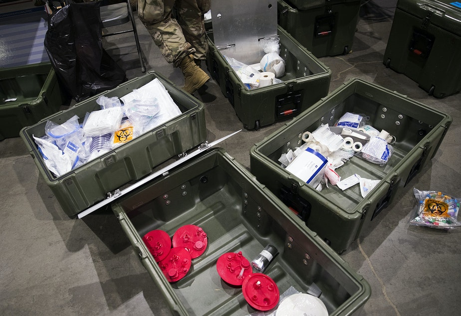 caption: Medical supplies are shown in the ICU area of a 250-bed military field hospital for non COVID-19 patients set up by soldiers from the 627th Army Hospital from Fort Carson, Colorado, as well as from Joint Base Lewis-McChord on Tuesday, March 31, 2020, at the CenturyLink Field Event Center in Seattle.