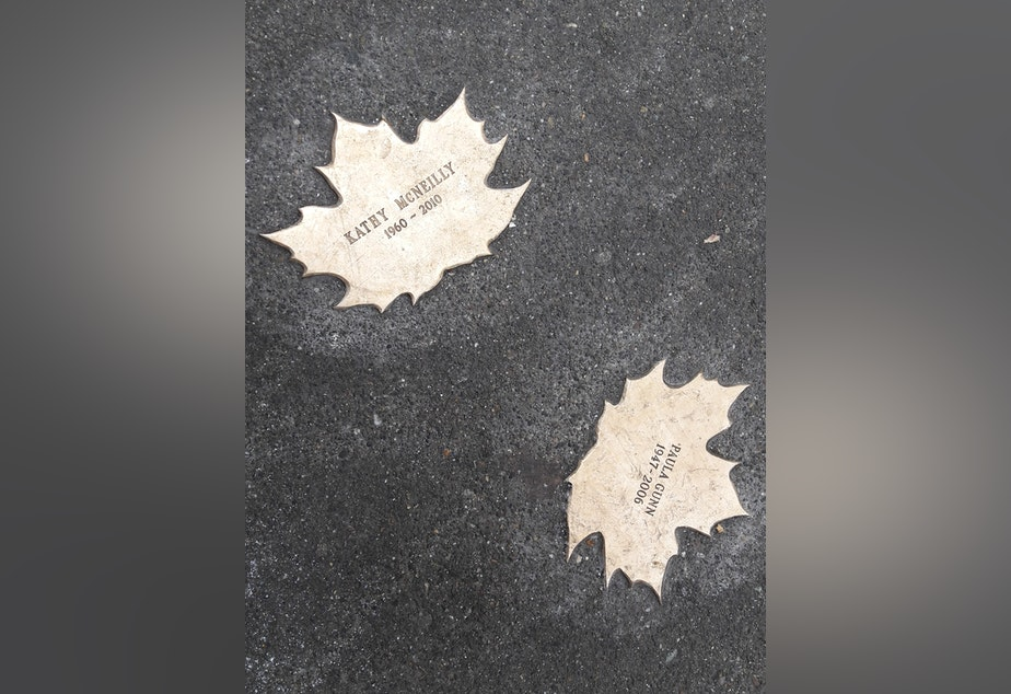 caption: The Homeless Remembrance Project has placed 256 bronze leaves across the city to remember homeless people who've died.