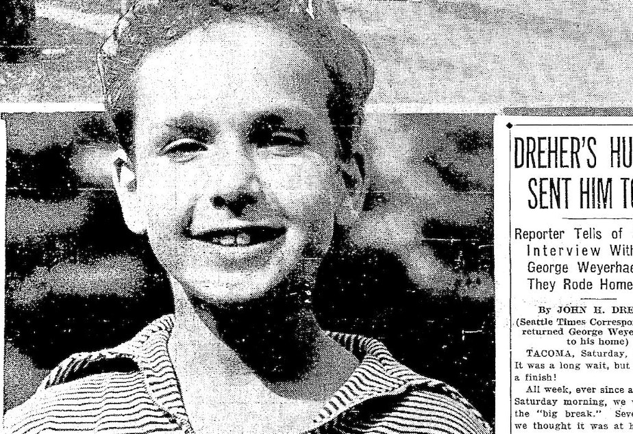 A photocopy of the Seattle Times' front page the day after 9-year-old George Weyerhaeuser returned home to Tacoma. A sports reporter found him in Issaquah and drove him home.