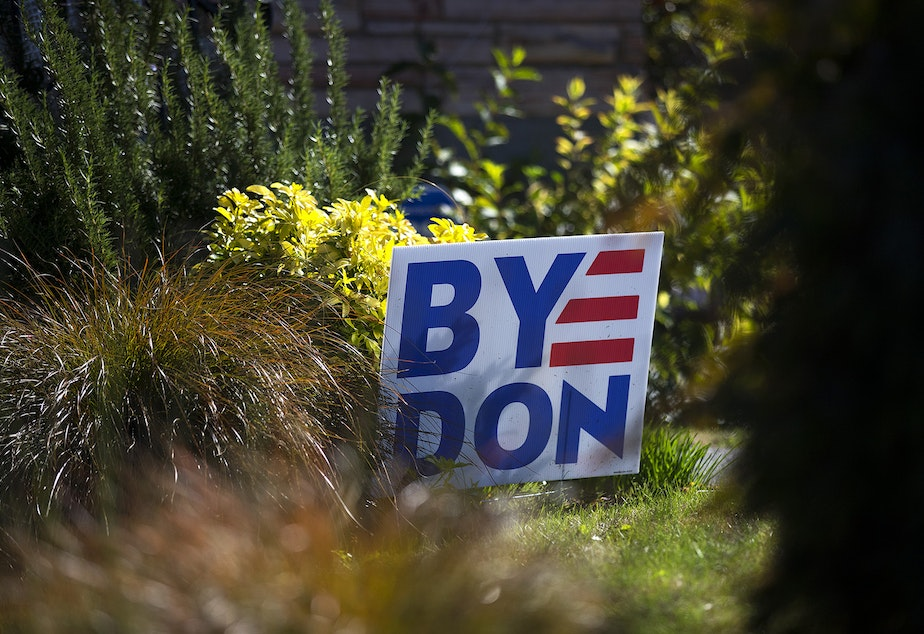 caption: A Byedon sign is shown on Monday, September 28, 2020, in the Ballard neighborhood of Seattle.