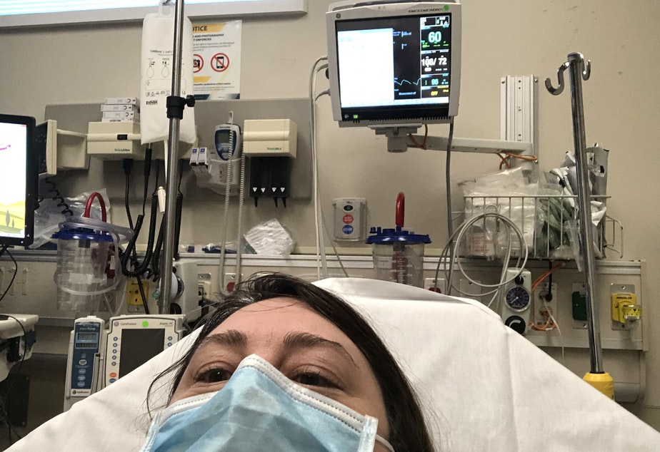 caption: Anna King went to the emergency room twice during her battle with Covid-19 before developing heart issues. Once she was having trouble breathing, another time the virus attacked her inner ear, giving her vertigo.