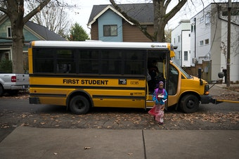 Biftu Aliya, 9, gets off of the school bus on Thursday, November 15, 2018, at her home in Seattle. Tap or click on the first image to see more.