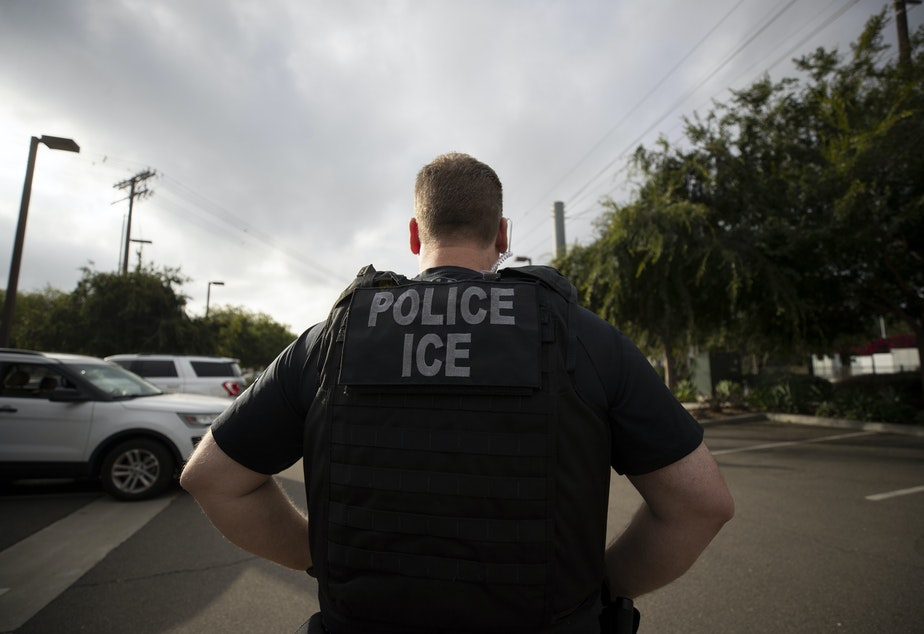 caption: In this July 8, 2019, photo, a U.S. Immigration and Customs Enforcement (ICE) officer looks on during an operation in Escondido, Calif.